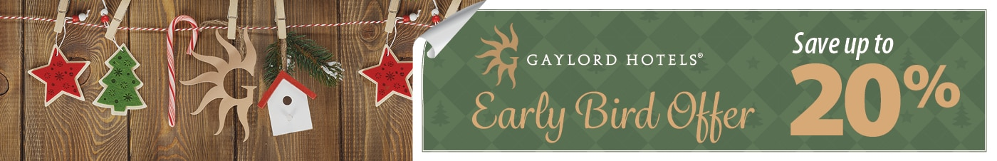 Ornaments on wood panelling wtih Gaylord Hotels logo and 20% offer - link to offer details