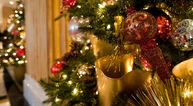Ornaments on Christmas Tree - Holiday Dining at Gaylord National