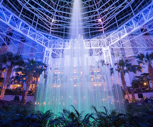 Large Spraying colorful Water Fountains at Gaylord Opryland's A Country Christmas