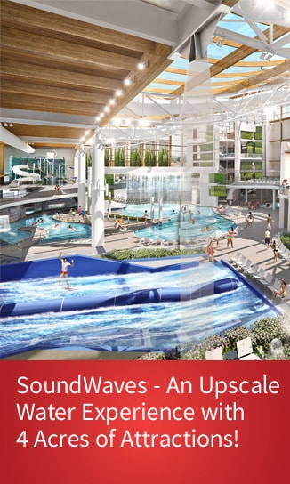 Indoor Water slides, flowrider, lazy river - link for more info about SoundWaves at Gaylord Opryland