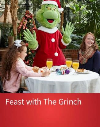 Mom and Daughter with Grinch Character Tableside - Purchase Tickets for Feast with the Grinch!