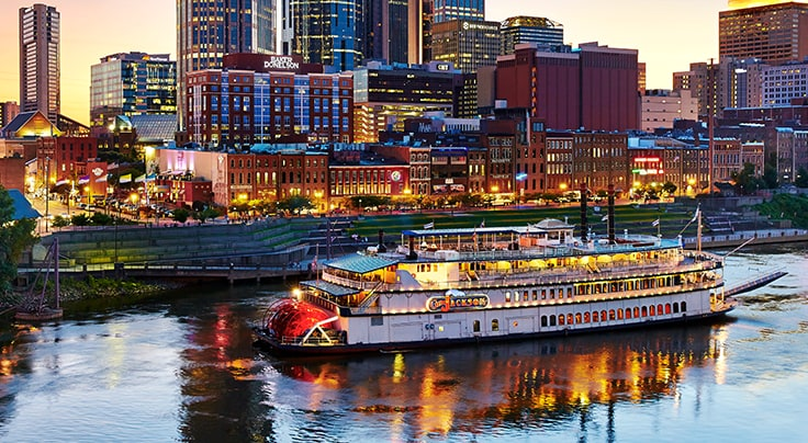 General Jackson Showboat at night in downtown Nashville