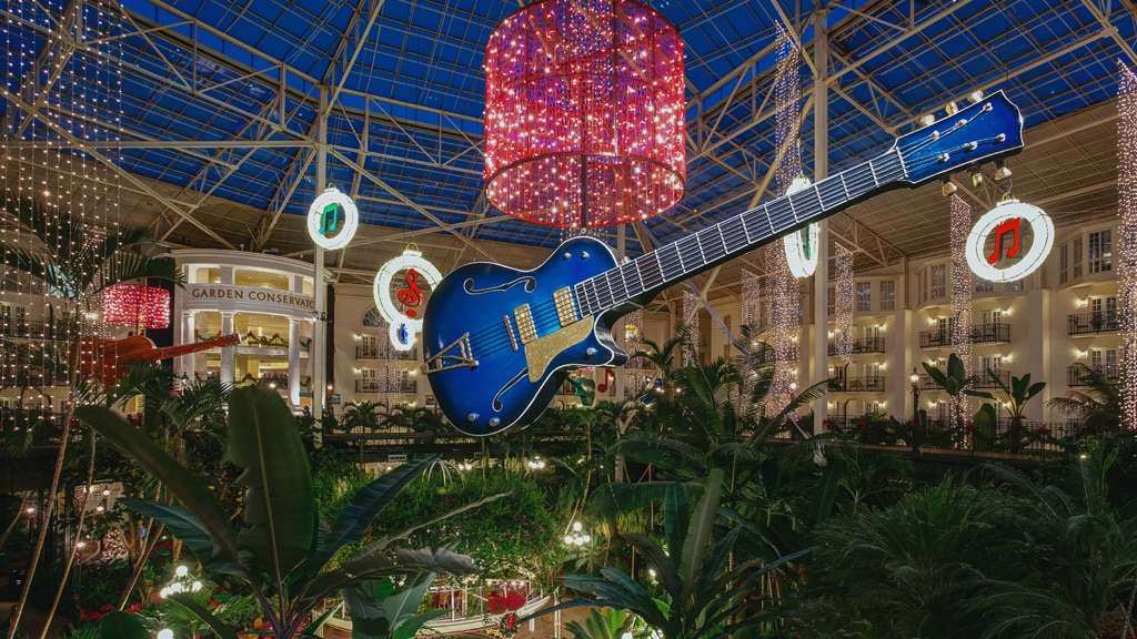 Gaylord Opryland Garden Conservatory Atrium decorated for Christmas