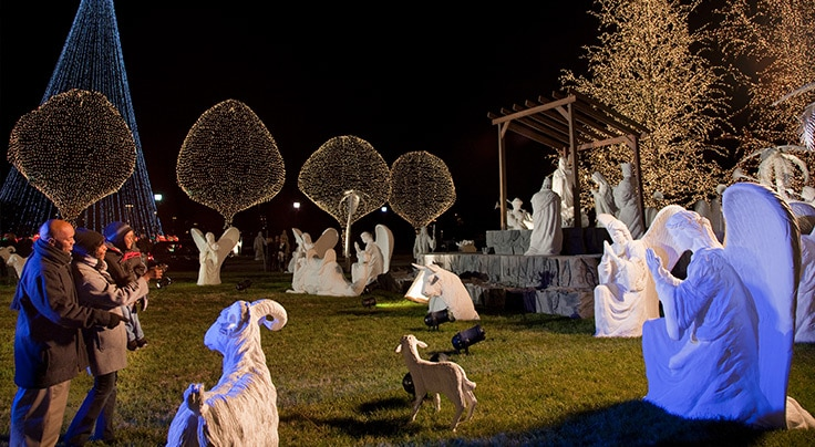 Outdoor Nativity Scene in lights at Gaylord Opryland