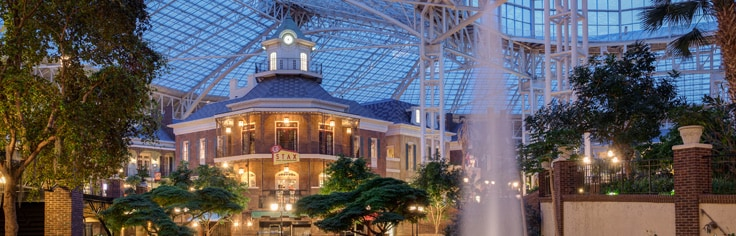 View of atrium, indoor river at Gaylord Opryland