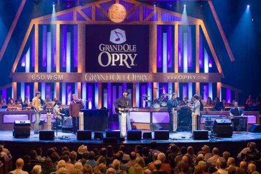 View of Grand Ole Opry musicians on stage