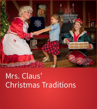 Young girl holiding hands with Mrs. Claus - Link to purchase tickets
