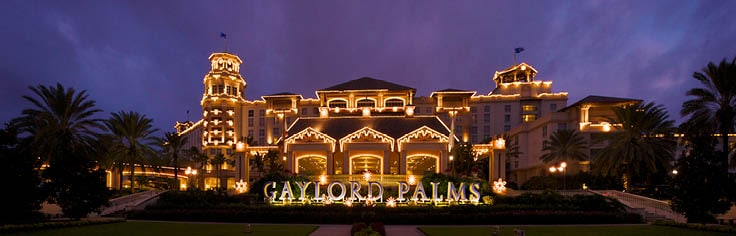 Gaylord Palms exterior decorated in Christmas lights