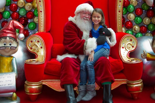 Girl on Santa's lap at Gaylord Texan