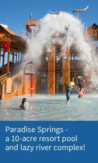 Bucket emptying water on pool playground at Paradise Springs at Gaylord Texan