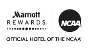 Marriott Rewards logo, NCAA® logo.  Official hotel of the NCAA®.