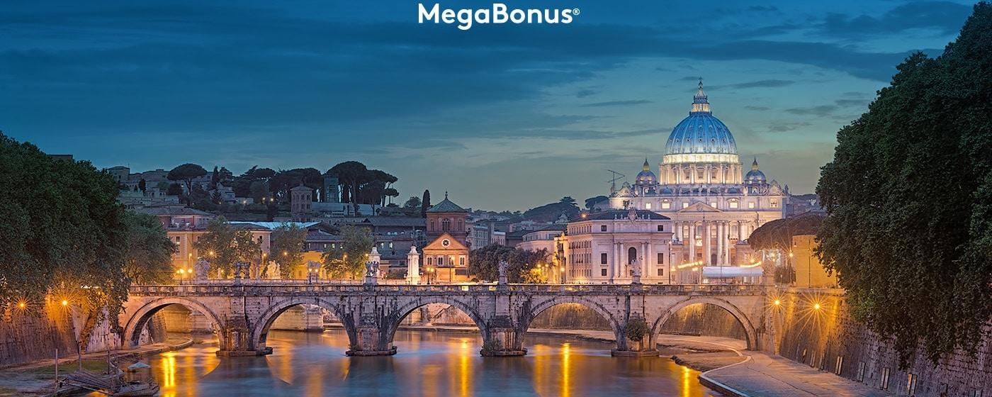 Vaticano exterior con vistas al río Tíber en la oscuridad. Megabonus logo.
