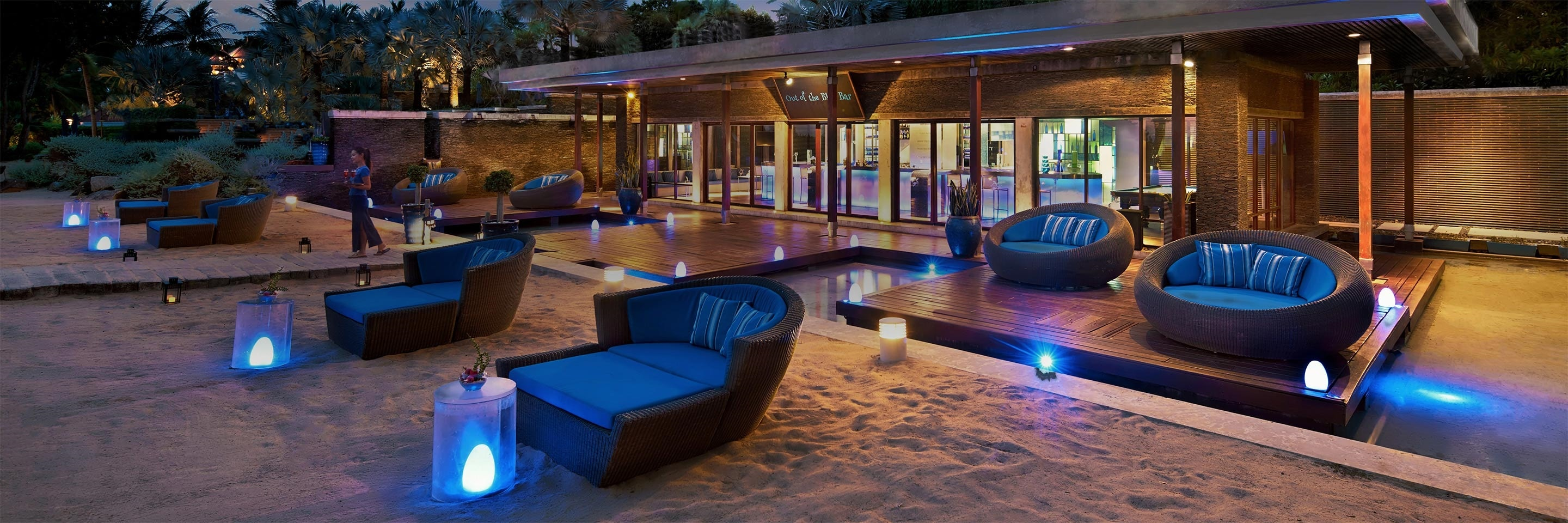 Beach bar at dusk. JW Marriott Phuket Resort & Spa