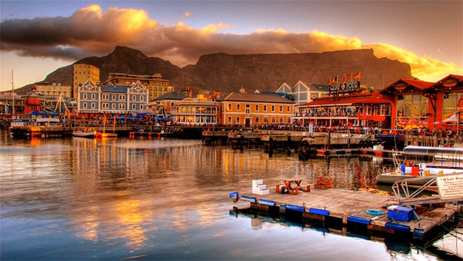 Port of Cape Town and Table Mountain at sunset