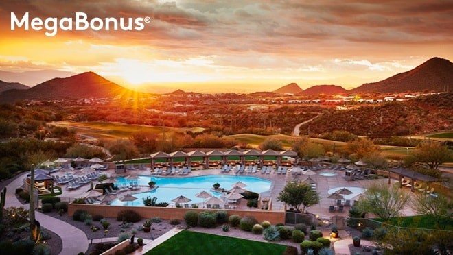 Overhead view of JW Marriott Tucson Starr Pass Resort & Spa at sunset