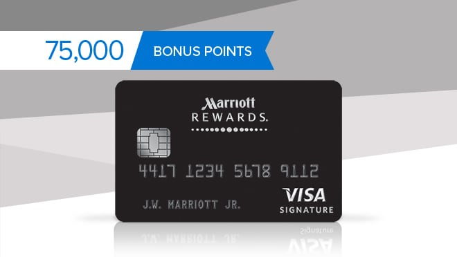 Marriott Rewards credit card image.  75,000 bonus points