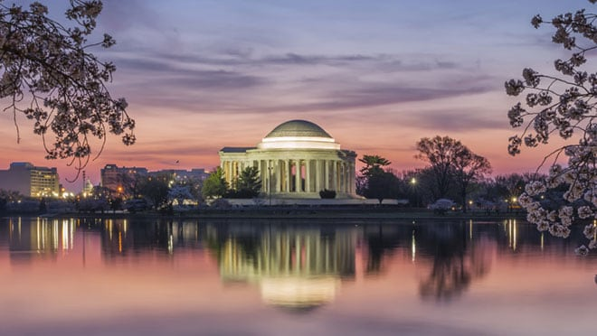 Jefferson Memorial exterior at dusk