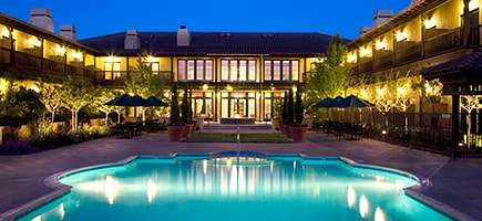The Lodge at Sonoma Renaissance Resort & Spa, night time exterior with pool