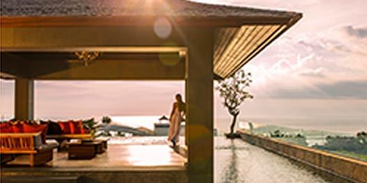 Hotel veranda overlooking the ocean