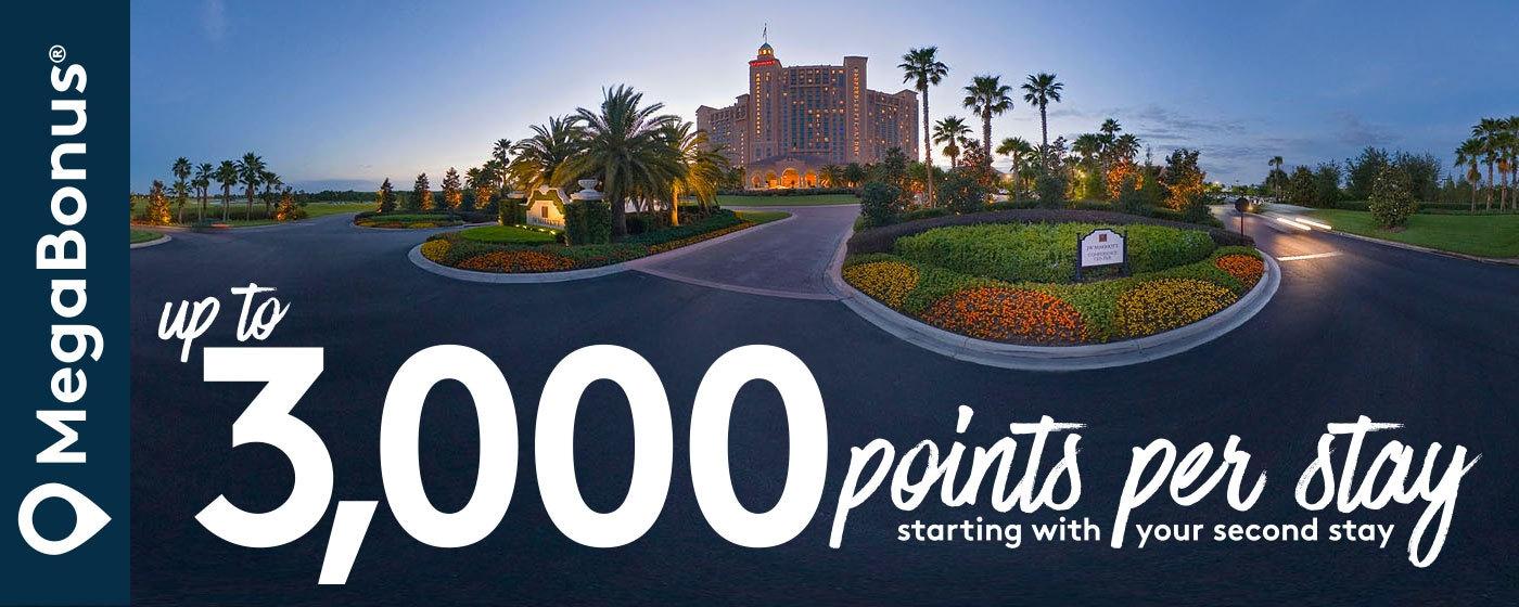 up to 3,000 points per stay starting with your second stay.