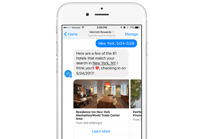 Facebook Messenger Find a Hotel chat session on mobile phone screen