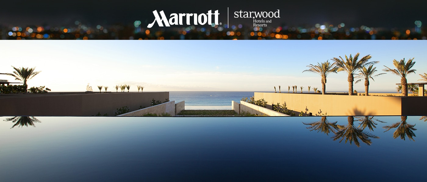 Marriott and Starwood logos, Infinity pool facing the ocean