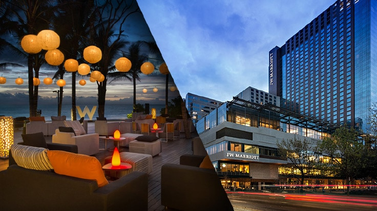 Side-by-side images of a beachfront lounge and a hotel exterior