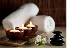 Candles and spa amenities