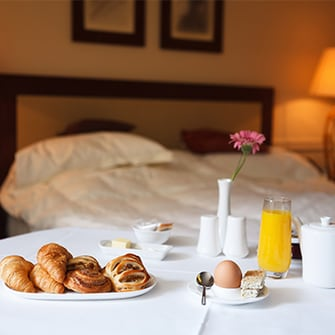 Breakfast in a hotel room.