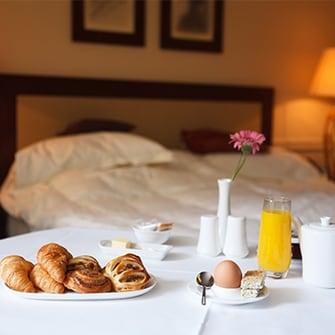 Breakfast in a hotel room.