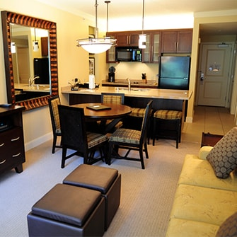 Hotel room with a kitchen.