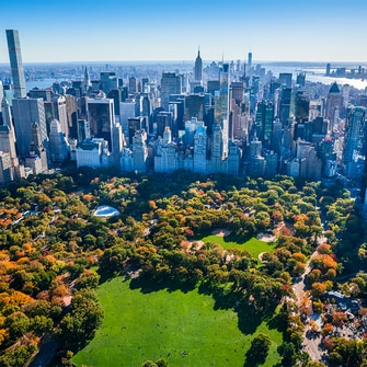 View of Central Park & NYC hotels & buildings.