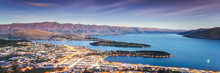 Queenstown, NZ, cityscape and mountains