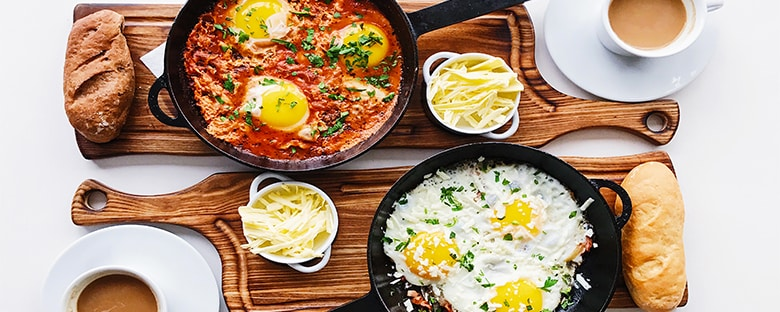 Farm-to-table breakfast egg skillets.
