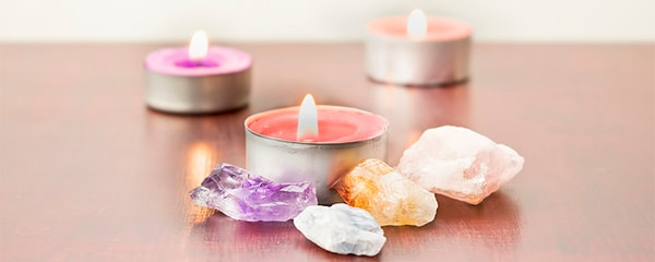 Reiki crystals and spa candles.