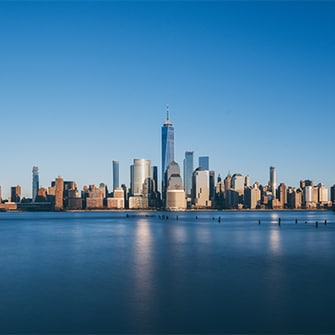 New York City skyline view from the water.