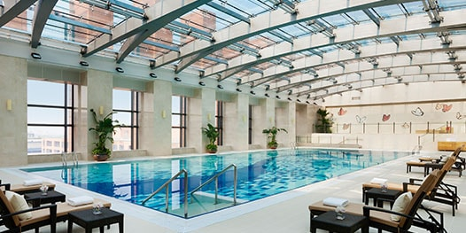Indoor pool with glass-covered roof