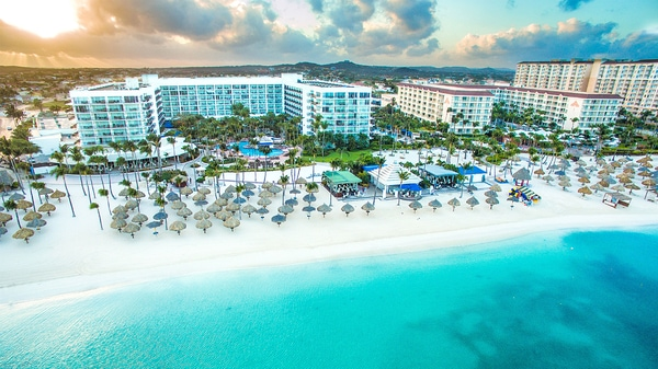 Aerial view of Aruba Marriott Resort & Stellaris Casino and beach