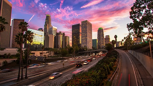 Los Angeles cityscape at sunset