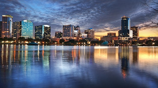 Orlando cityscape at sunset