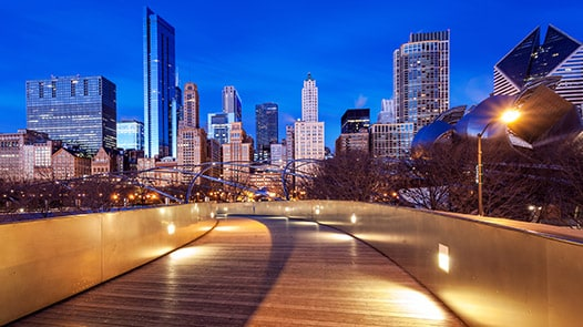 Millennium Park pedestrian bridge at night