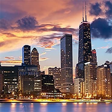 Downtown Chicago skyline at night.