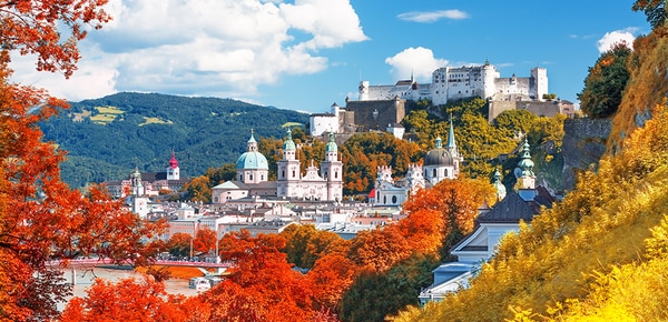 The city of Salzburg, Austria, on a summer morning