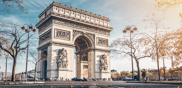 Arc de Triomphe in autumn scenery, Paris, France