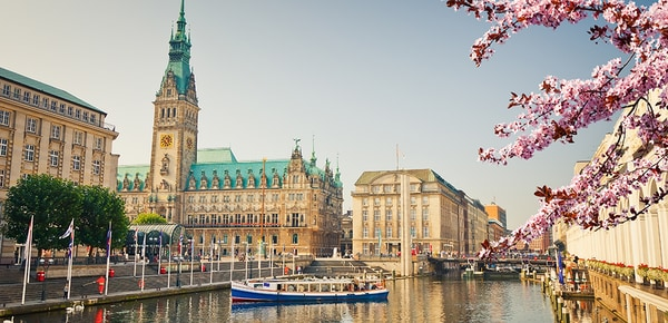 Hamburg townhall and Alster river at spring, Germany