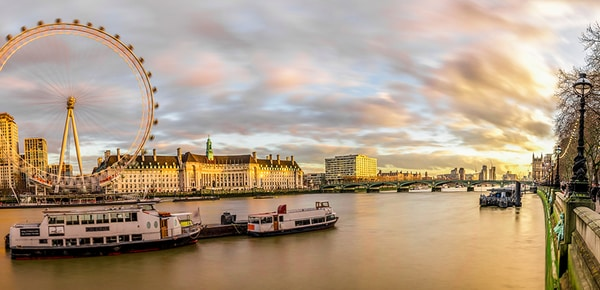 Skyline view of the Southbank London Eye and Westminster Bridge, London, United Kingdom