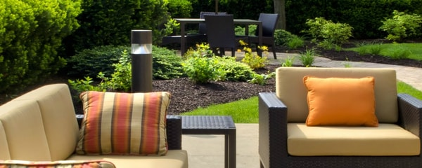 Seating area in outdoor hotel patio