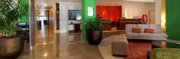Lobby with seating and plants
