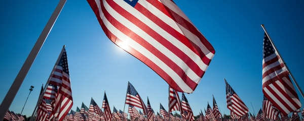 Image of american flag waving in wind