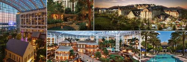 Collage of 5 settings at 5 Gaylord Hotels resorts